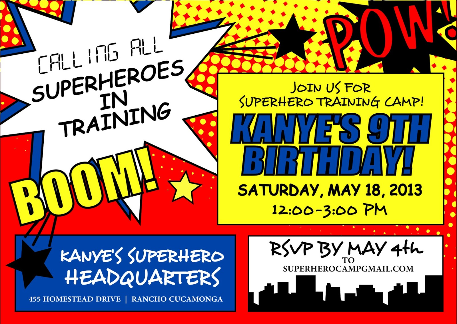 Signatures by Sarah: Superhero party stationery for Amanda