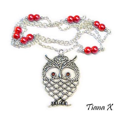 Tiana X - Kaulakoru, pöllö, Huuhkaja, punainen