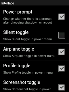 CyanMobile > Interface > Power Menu toogles Settings