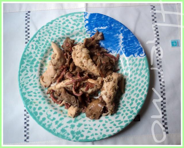 Solomillo de pollo con setas y jamón receta casera