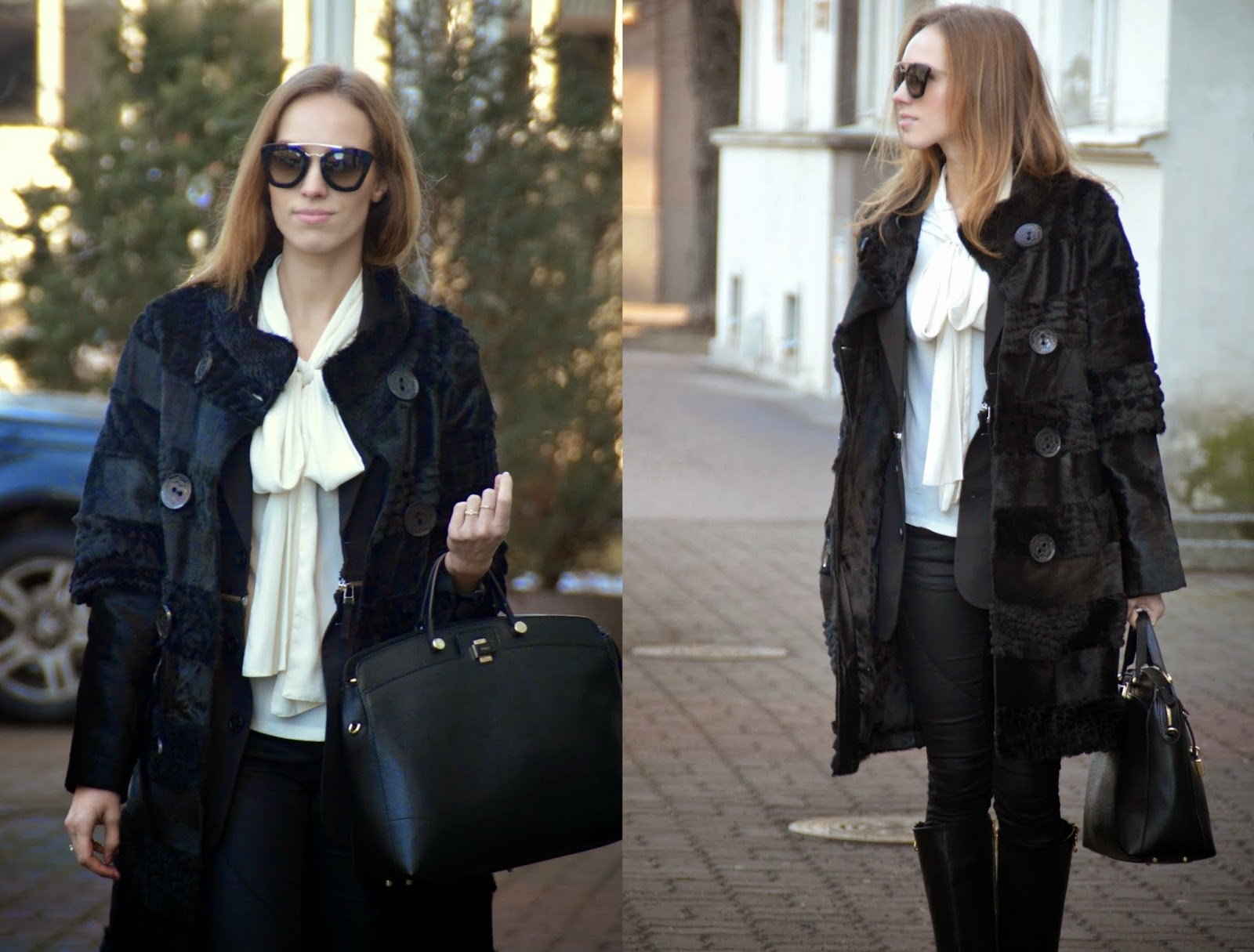 black-fur-coat-white-asos-bow-blouse-prada-cinema-sunglasses-furla-bag kristjaana mere