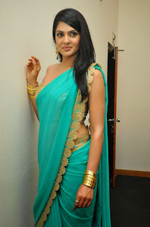 Sakshi Chaudhary lovely Green Lace Border Saree Single Shoulder Blouse at James Bond Movie Audio Launch
