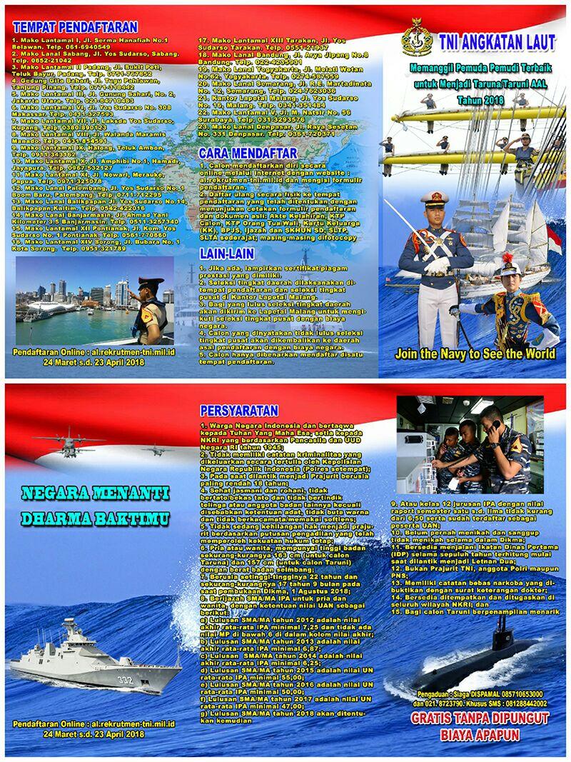 TNI AL BUKA PENDAFTARAN TARUNA/I TNI AL TA.2018