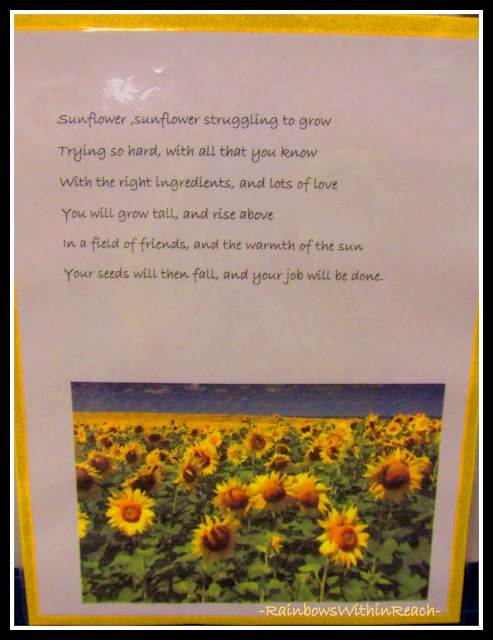 photo of: Sunflower Poem for Painted Hand-print Art project (via RainbowsWithinReach)