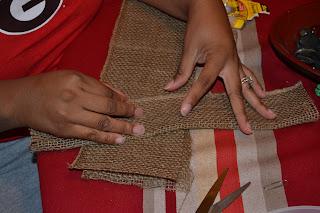 cutting burlap (diy craft)