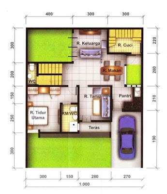 Contoh Denah Rumah Minimalis dan Tata Ruang Interior Lt 1