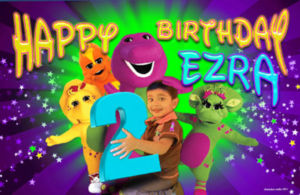 Barney, Cousin Riff, Baby Bop, Cj Birthday Banner and Invitations with child photo