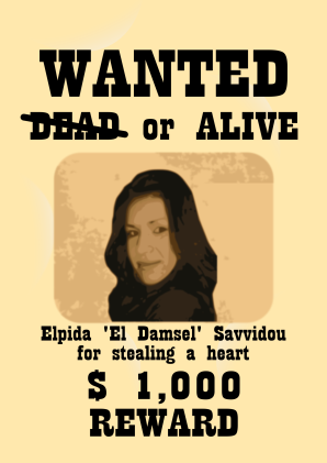 A wanted poster showing that Elpida is wanted alive for stealing a heart, reward $1000.