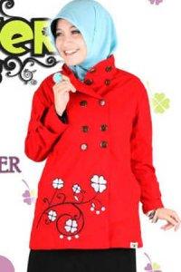 Clover Clothing Jacket - Red (Toko Jilbab dan Busana Muslimah Terbaru)