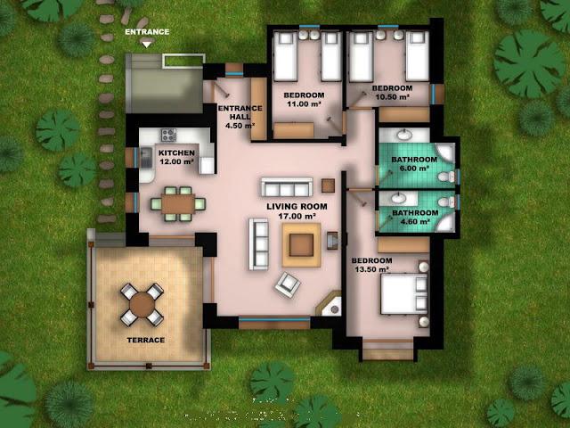 تصاميم خرائط مخططات فلل الطابق الواحد