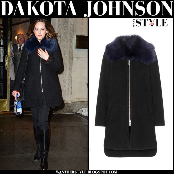 Dakota Johnson in black zipper coat with blue collar from Chloe what she wore winter style