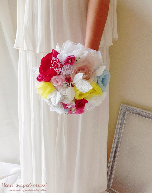 Colorful bridal bouquet fabric