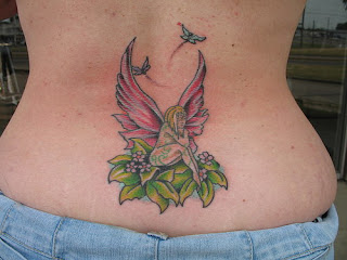Cute Fairy Angel Tattoo for Girls Lower back