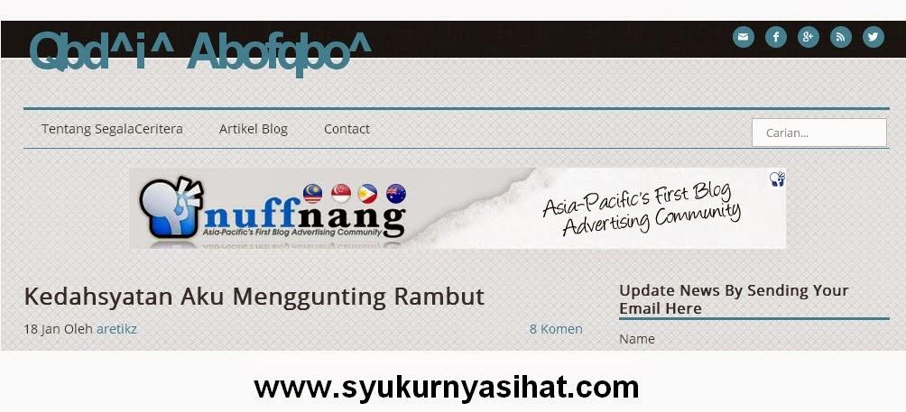 Top Komentator Blog Syukurnya Sihat Dot Com Bulan Disember 2014