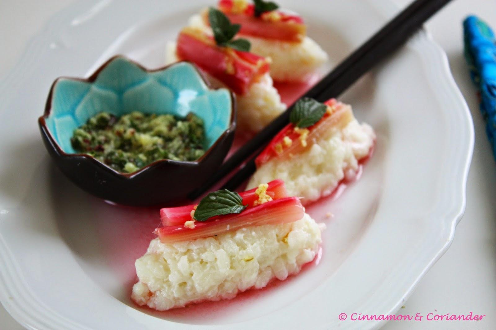 Süßes Sushi mit Rhabarber und Ingwer Minze Dip