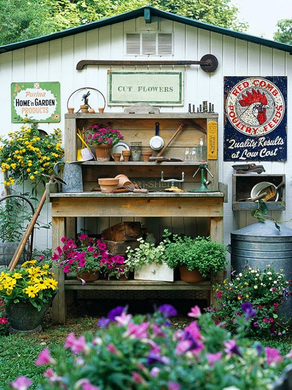 Sunny simple life potting bench ideas for Garden potting bench ideas