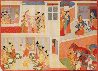 Illustration from a Mahabharata Series: The Pandavas in Drupad's Court