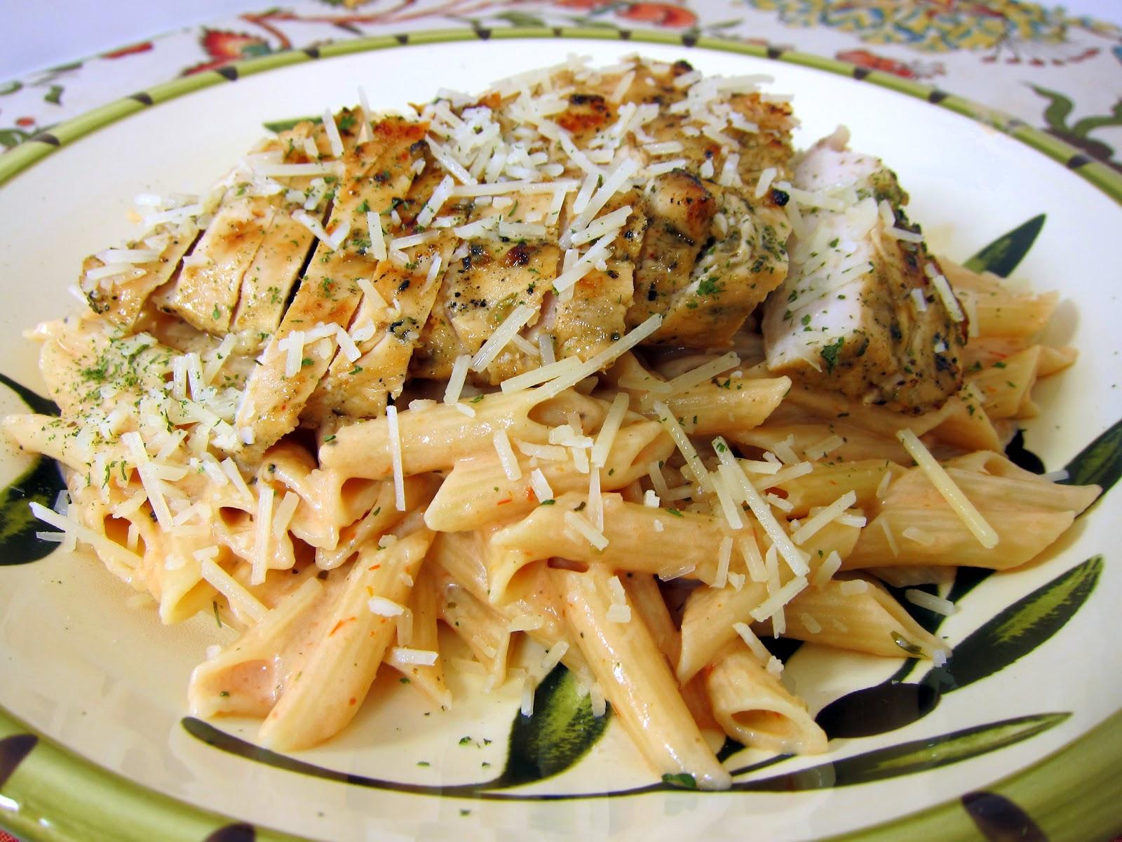Grilled Chicken over Tomato Alfredo Sauce Plain Chicken