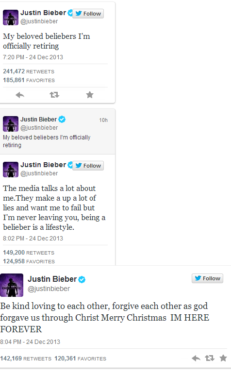 Justin Bieber Announces Retirement on twitter