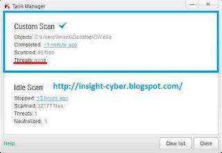 hasil scanning Chew WGA 0.9 menggunakan antivirus Kaspersky