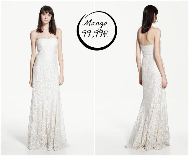 vestido novia boda blanco encaje largo Mango low cost barato palabra de honor informal