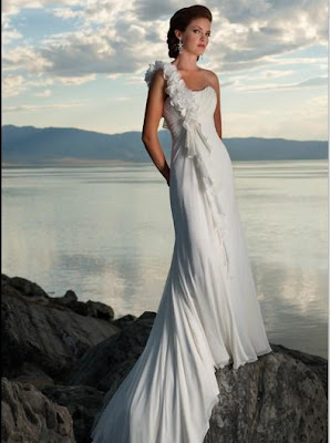 A-Line One-Shoulder Ruffles Chapel Train Chiffon Bridal Gowns