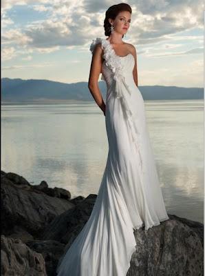 A-Line One-Shoulder Ruffles Chapel Train Chiffon Bridal Gowns