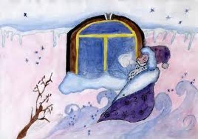 На листочке зима рисовала
