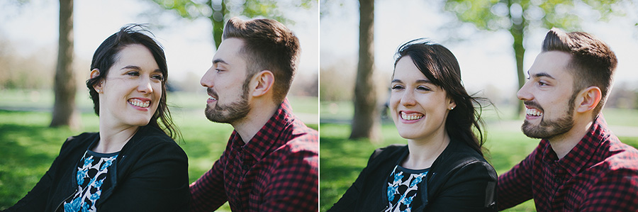 Bright portrait of young couple in the park