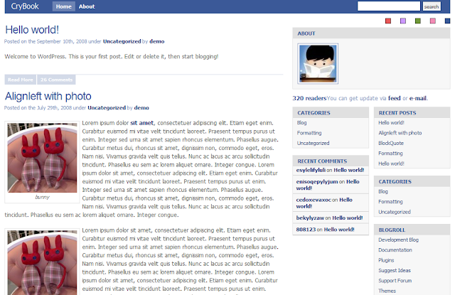 Facebook Style Wordpress Theme