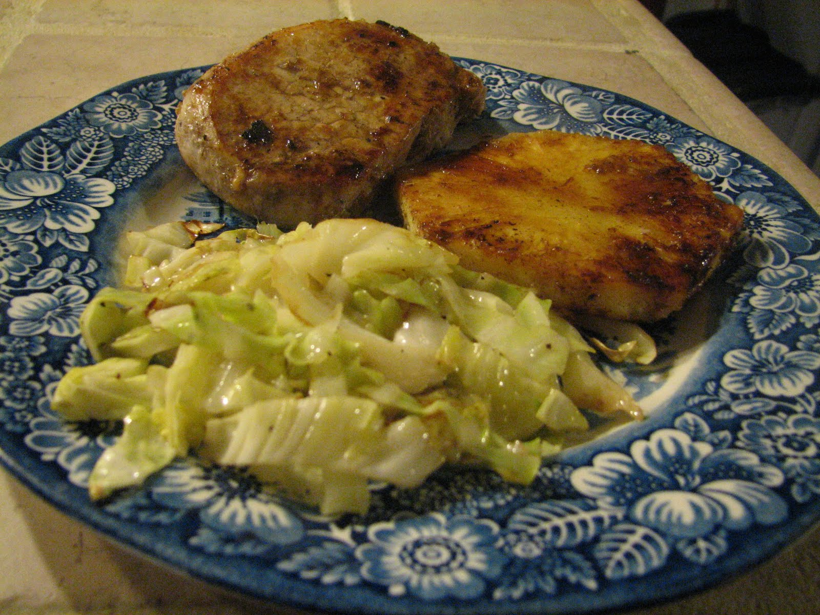 Necessary Pleasures: Jerk Pineapple Pork Chops with Sauteed Cabbage