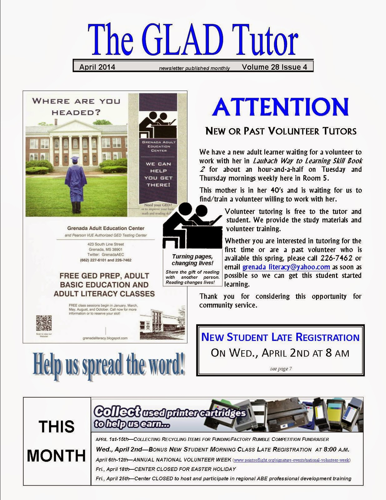 "April 2014 issue of ""The GLAD Tutor"""