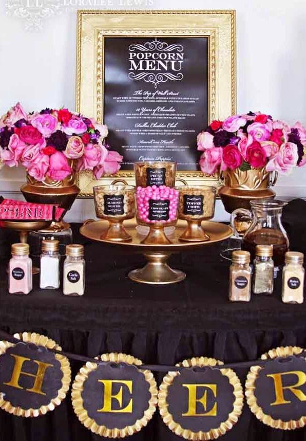 Popcorn Bar ideas for an Oscars/Academy Awards viewing party; decorative sugar shakers
