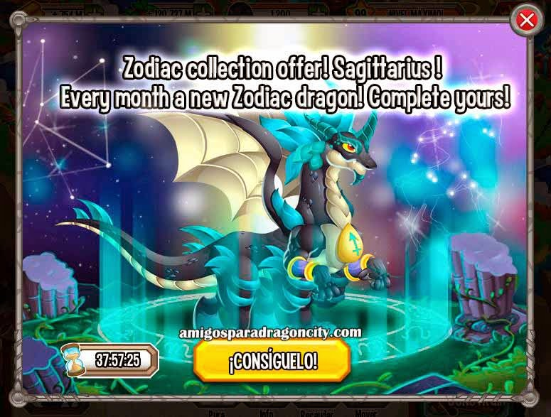 imagen de la oferta del dragon zodiaco sagitario de dragon city