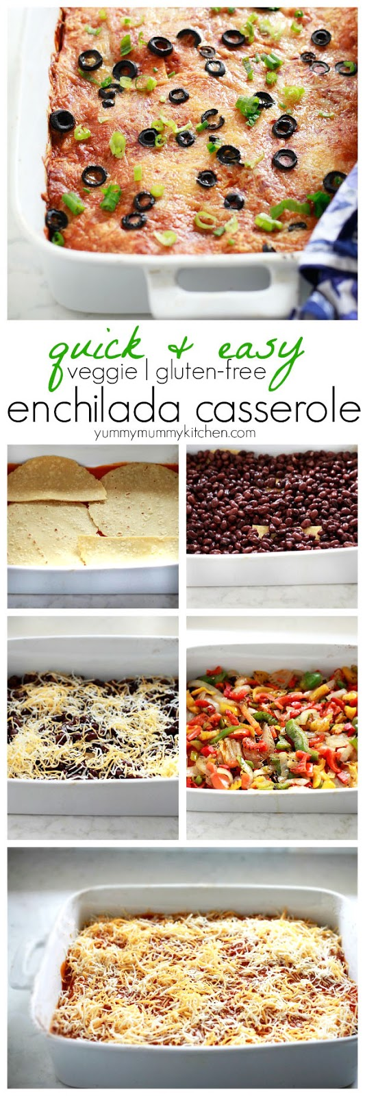 Easy Peasy Here S A Visual Of How I Layered The Casserole A Little Sauce Tortillas Beans Cheese And Peppers Easy Vegetarian Enchilada Bake