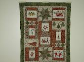 tante's kerstkaarten verwerkt in een quiltje