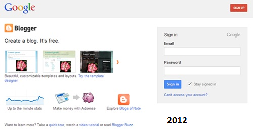 2012 yılında blogger