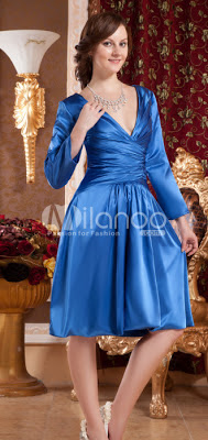 Robe glamour engagement Royalblue Deep V-Neck Satin Kate Middleton