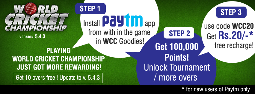 WCC20 Paytm Rs 20