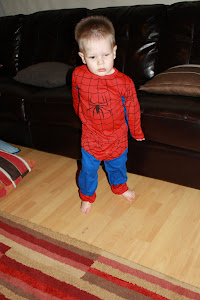 Joel as Spiderman (without his eye in)