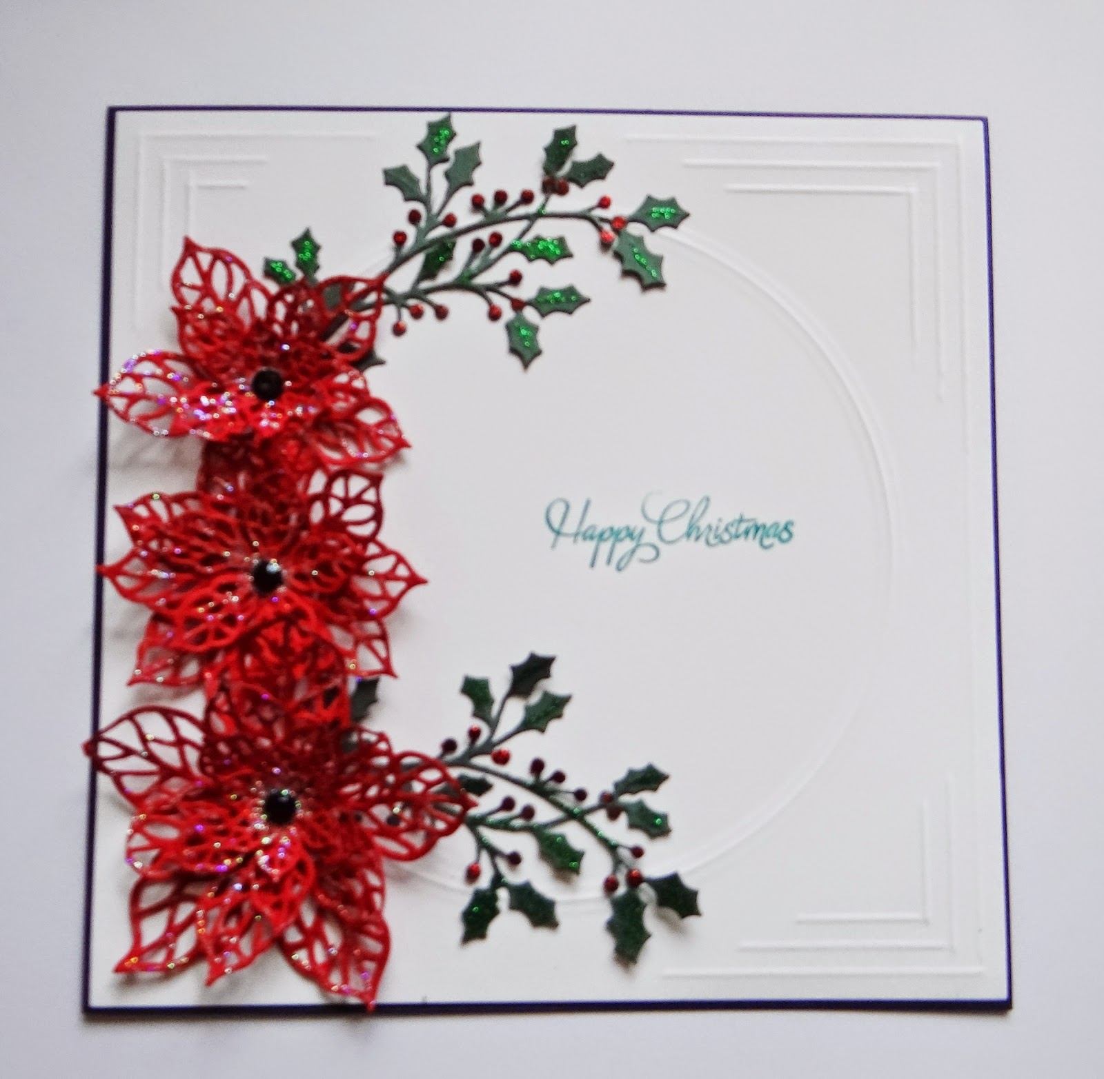 fairly quick card today using Creative Expression Poinsettia and ...: bjcrafty.blogspot.com/2014/09/christmas-poinsettia-sue-wilson-die.html