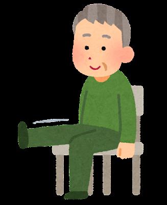 椅子に座って運動をする人のイラスト(おじいさん)