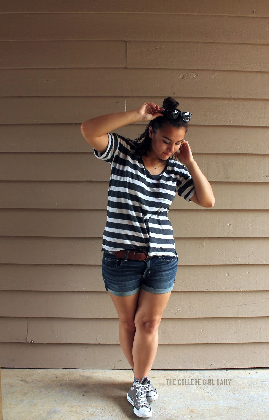 t-shirt, T-shirt, shorts, denim shorts, jorts, sunglasses, ray bands, half bun, stripes, striped, striped t-shirt, converse, high tops, dogeared, loft, loveloft,