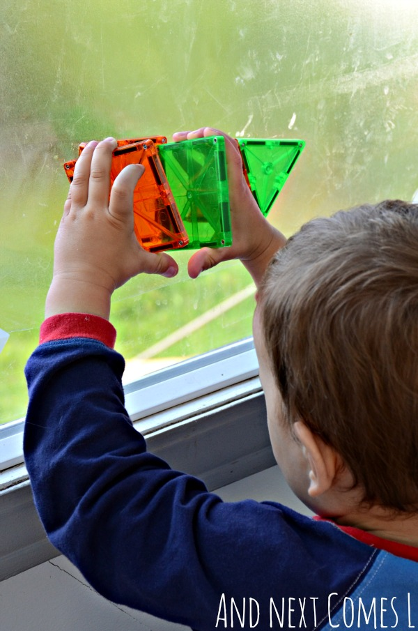 Building 3D shapes on windows using Magna-Tiles from And Next Comes L