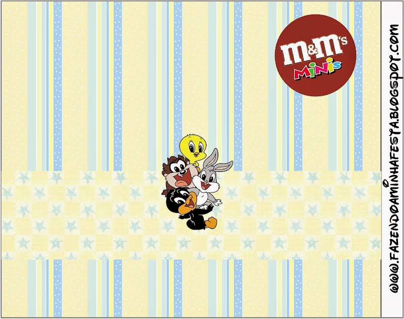 Free Printable of  M&M Candy Bar Labels for Lonney Tunes Babies.