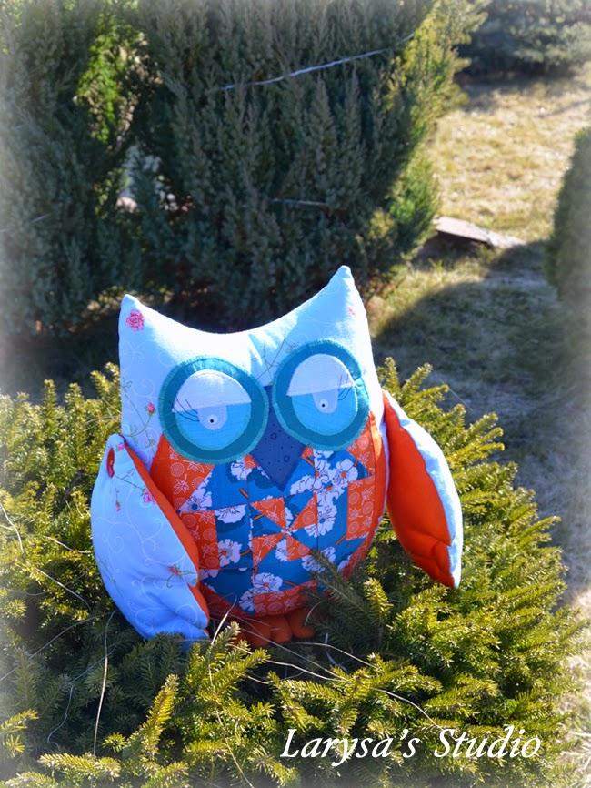 patchwork owl - pillow
