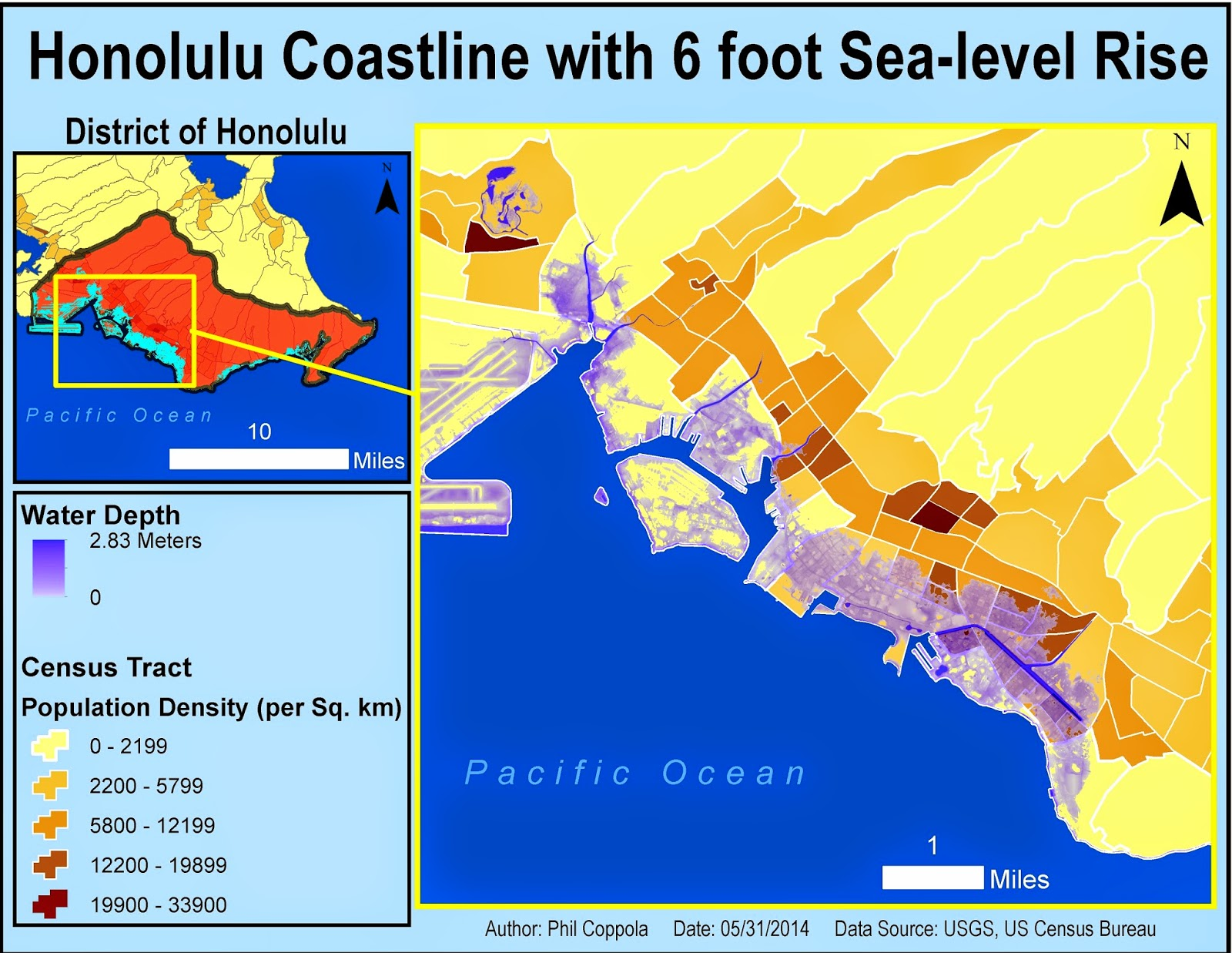 specifically we created a map of the district of honolulu after a modeled 3ft and 6ft sea level rise slr scenario