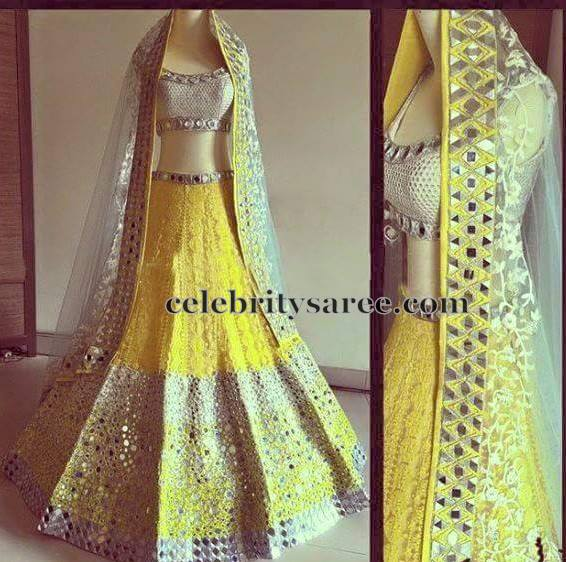 Lemon Yellow Mirror Work Lehenga