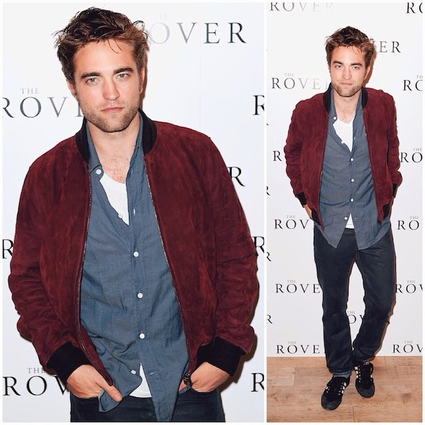 Robert Pattinson red maroon burgundy suede bomber jacket from Gucci - The Rover photocall and screening BFI Southbank on 6th August 2014 in London England