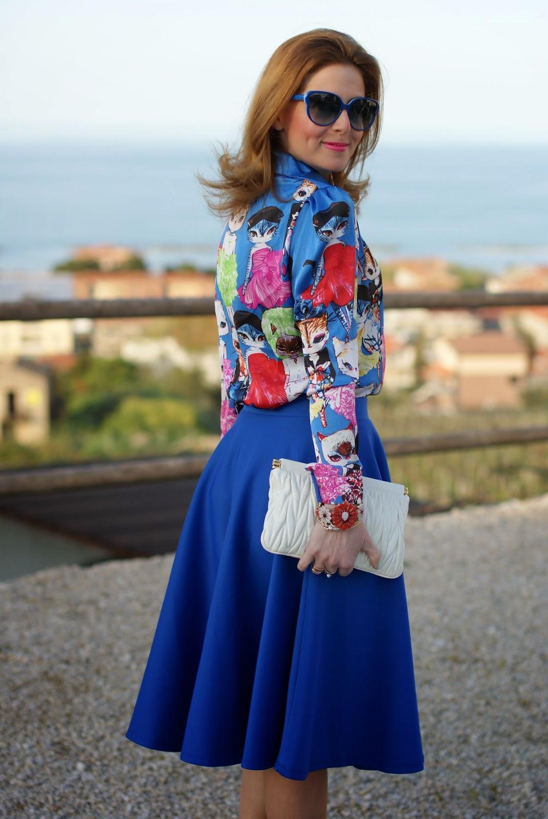 cats print shirt, romwe cats shirt, Miu Miu clutch, Sodini bijoux bracelet, Fashion and Cookies, fashion blogger